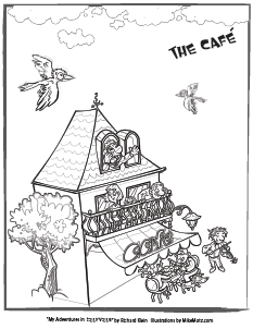 Printable coloring page of the cafe in Sillyville