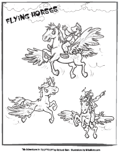 Printable coloring page of the flying horses from Sillyville