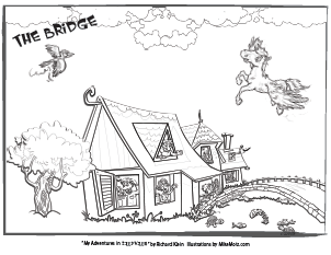Printable coloring page of the house and bridge from Sillyville