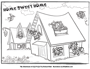 Printable coloring page of a home in Sillyville