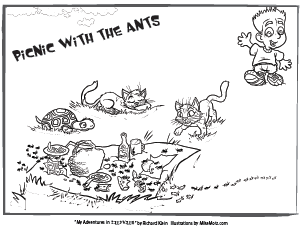 Printable coloring page of the picnic with ant in Sillyville
