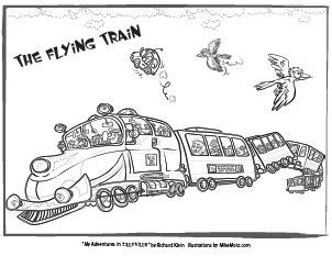 Printable coloring page of the flying train from Sillyville