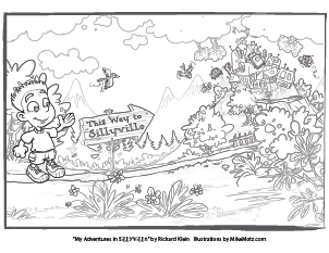 Printable coloring page of the first page in Sillyville