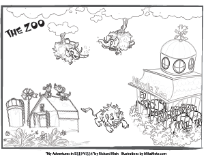 Printable coloring page of the zoo in Sillyville